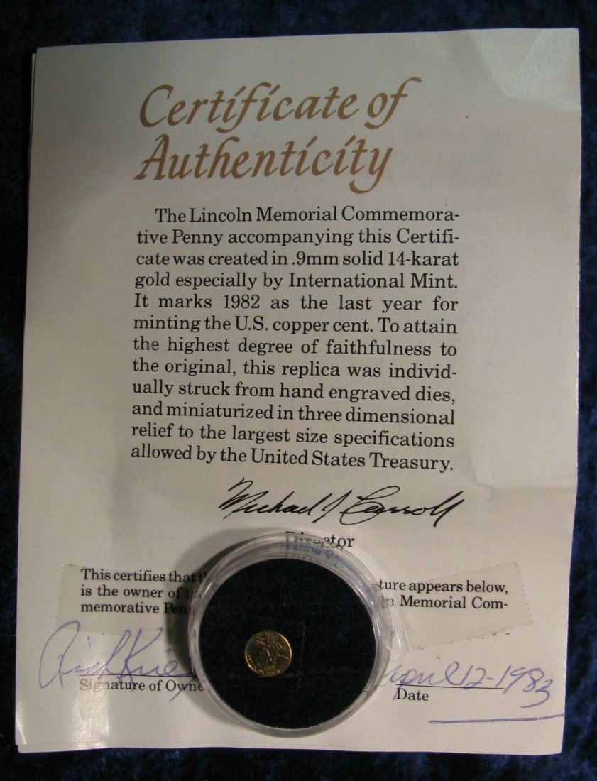 1. Lincoln Memorial Commemorary Penny. 14K Solid Gold.