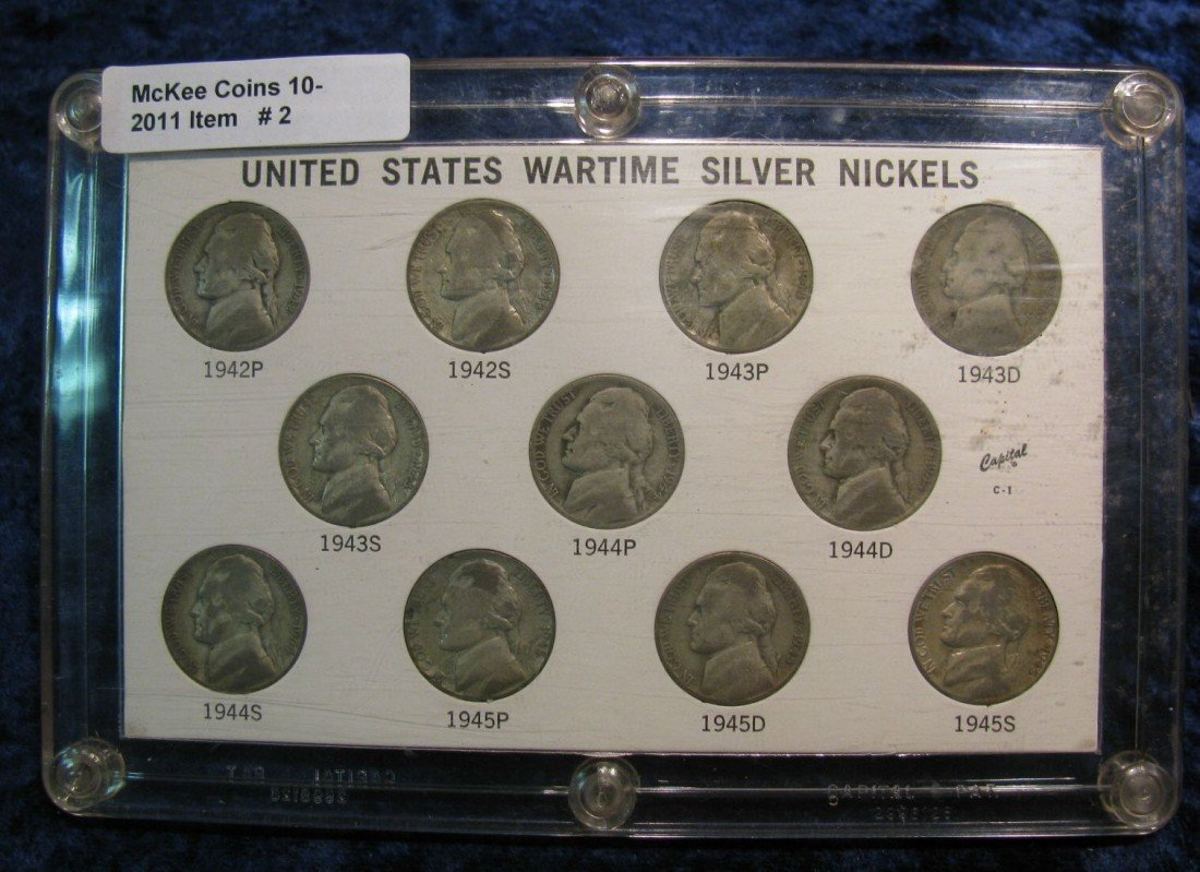 2. World War II Silver Nickel Set in Capital holder. Ci