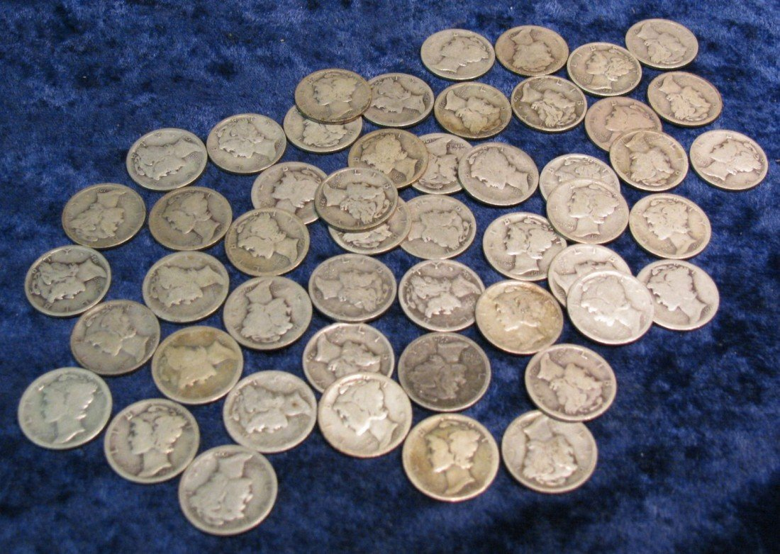 4. (50) Mercury Dimes dating in the teens & twenties.