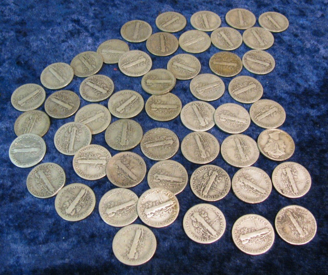 7. (50) Mercury Dimes dating in the teens & twenties.