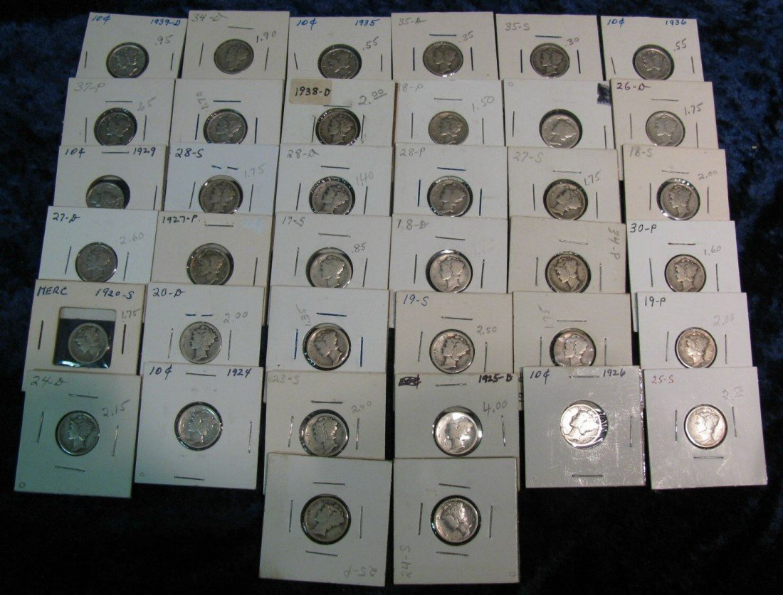 10. (40) Different date & Mint mark Mercury Dimes datin
