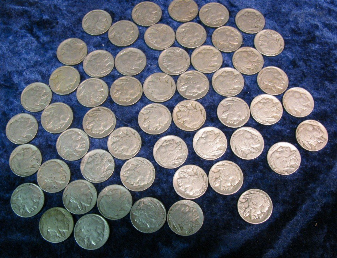 11. Bag of 53 Buffalo Nickels with readable dates.