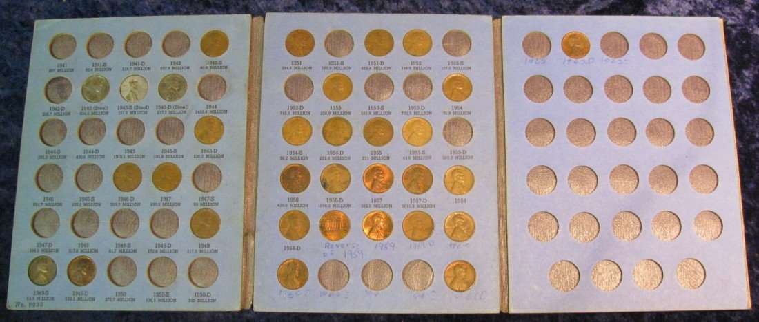 14. 1942-61 Partial Set of Lincoln Cents in a Whitman f