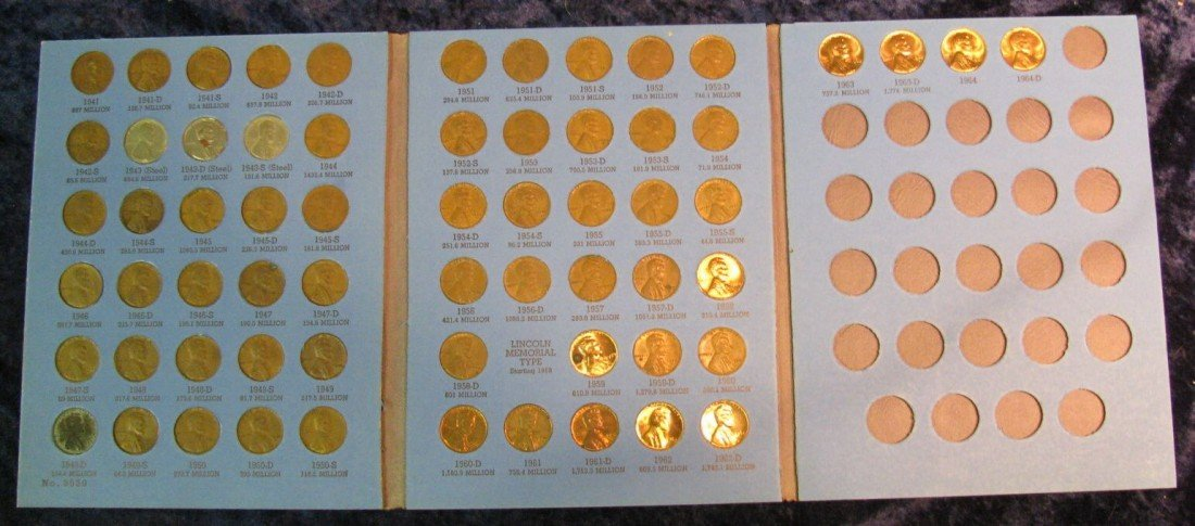 16. 1941-64 Partial Set of Lincoln Cents in a Whitman f