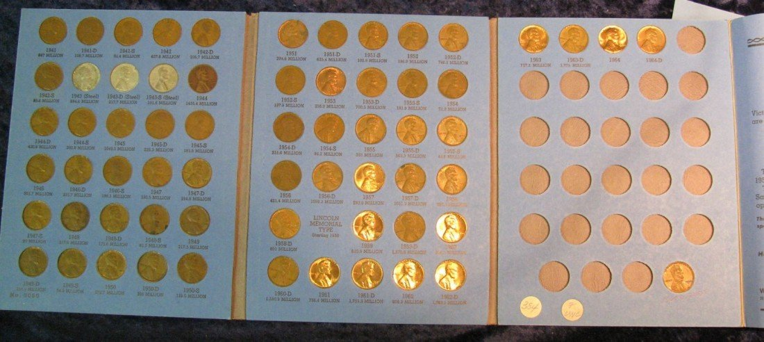 17. 1941-64 Partial Set of Lincoln Cents in a Whitman f