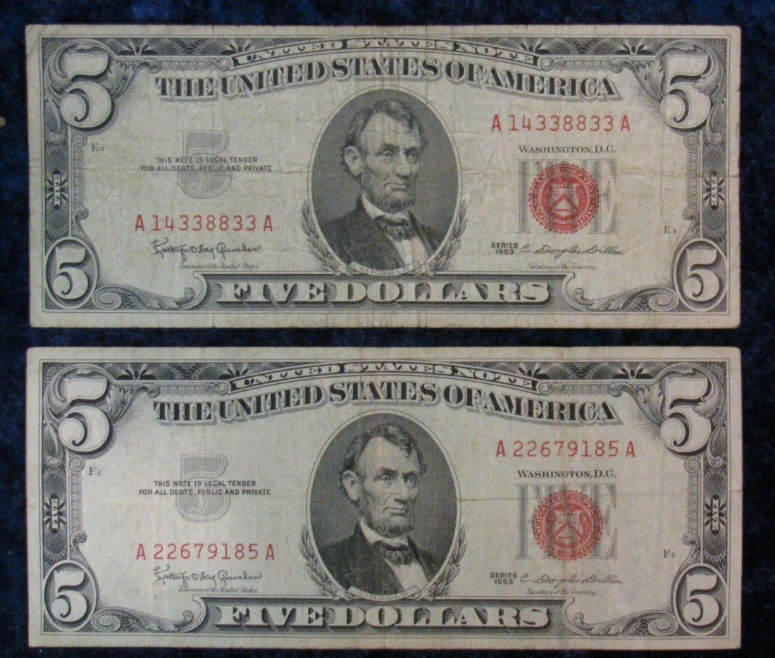 "23. (2) Series 1963 $5 U.S. Note. ""Red Seal"" VG."