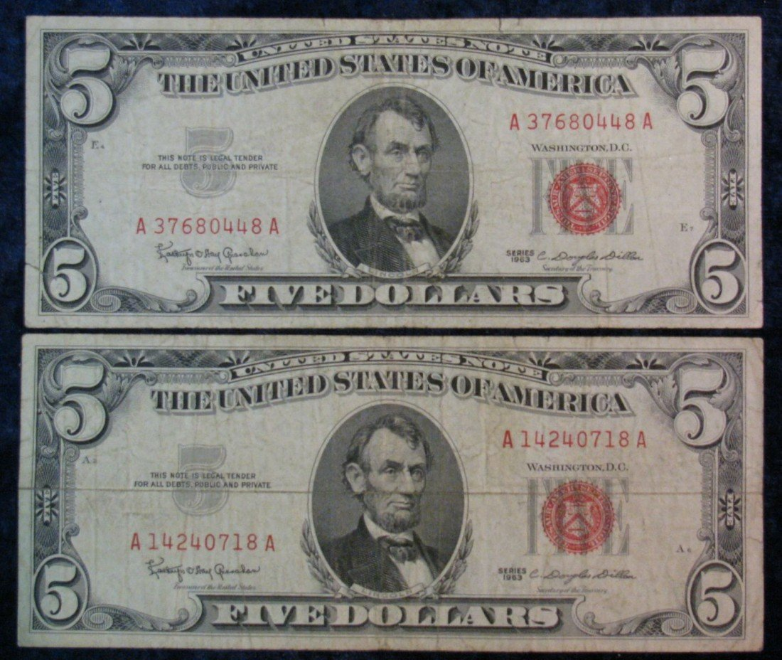 "24. (2) Series 1963 $5 U.S. Note. ""Red Seal"" VG."