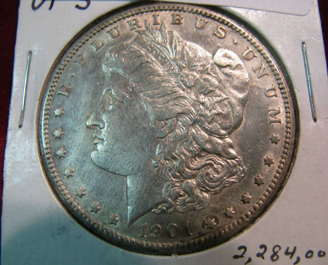 273. 1901 S Morgan Silver Dollar. Cleaned & lightly ret