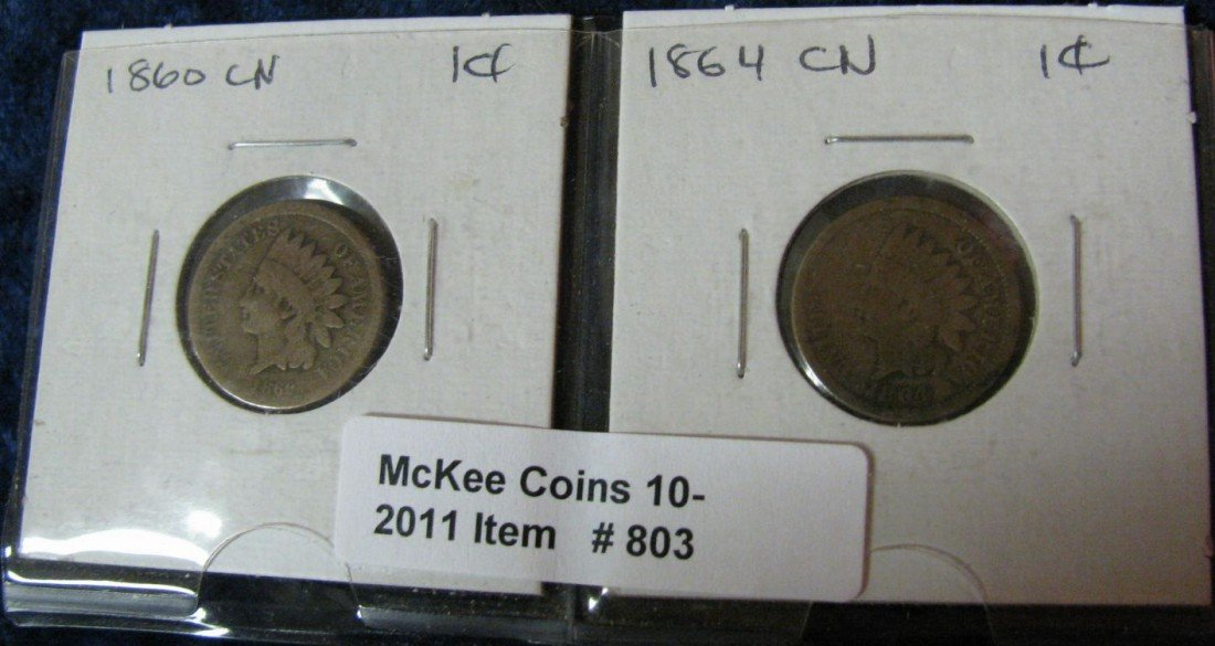 803. 1860 & 64 CN Indian Head Cents. G.