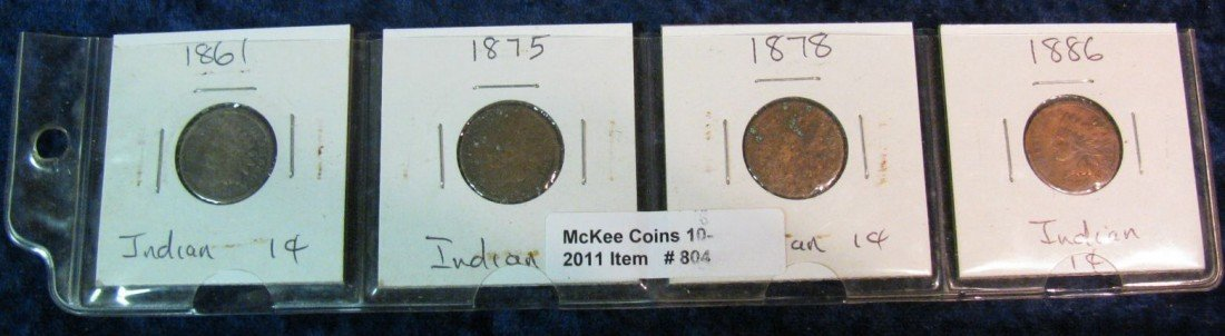 804. 1861, 75, 78 & 86 Indian Head Cents.
