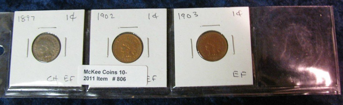 806. 1897, 1902 & 1903 Indian Head Cents. EF.
