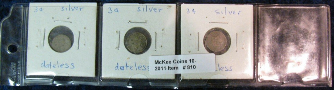 810. (3) Dateless 3-Cent Silvers.