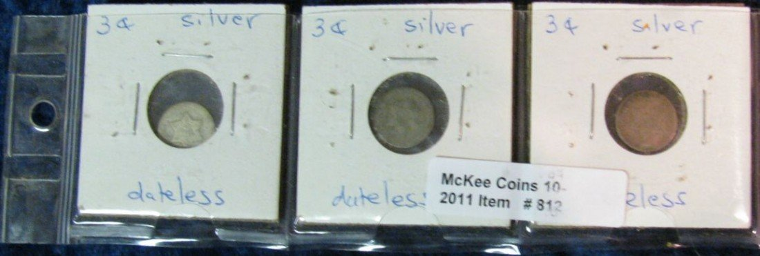 812. (3) Dateless 3-Cent Silvers.