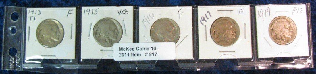 817. 1913 T1 F, 15P VG, 16P, 17P F & 19P F Nickels.