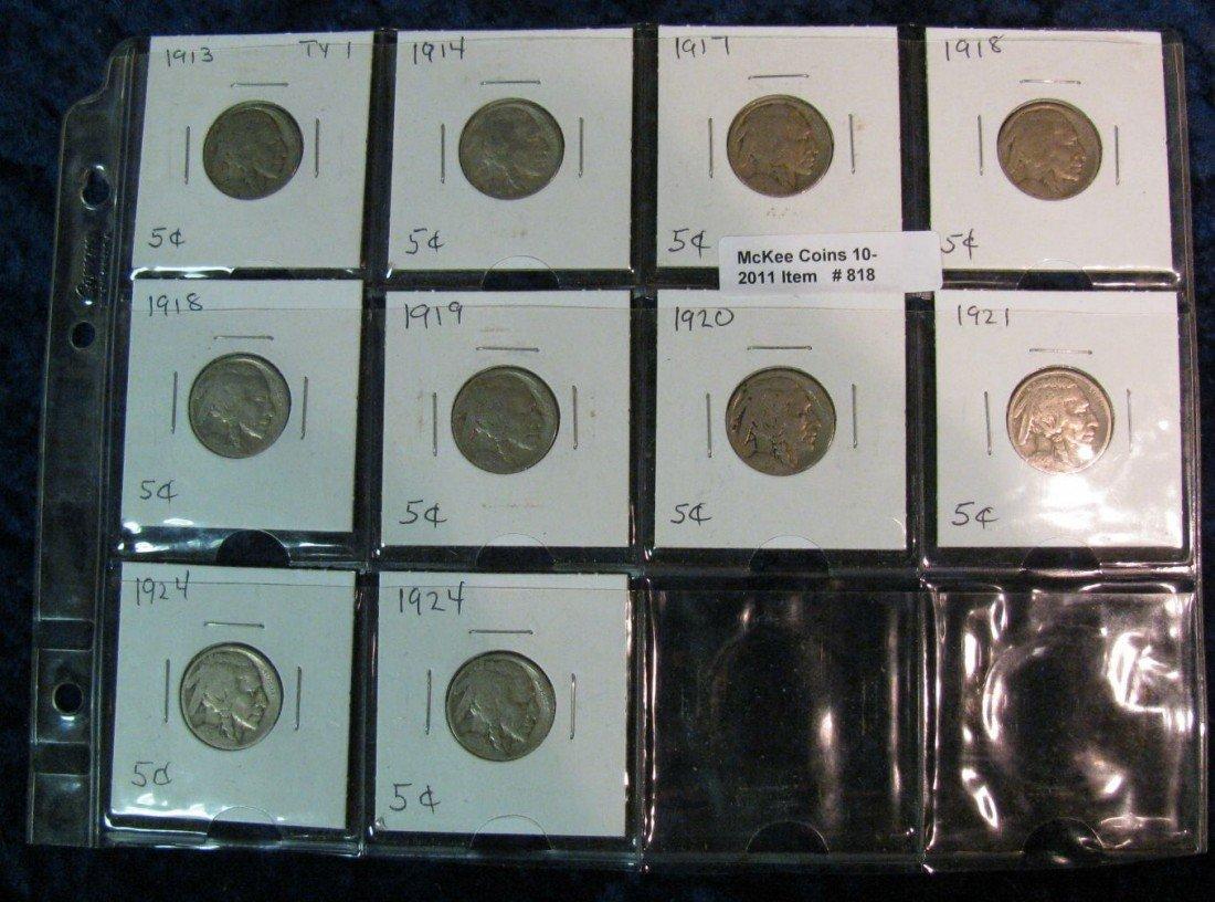 818. (10) 1913-24 Buffalo Nickels.