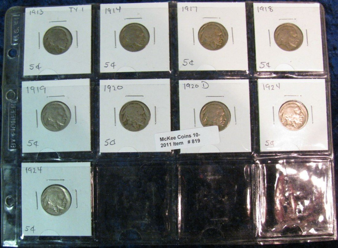 819. (9) 1913-24 Buffalo Nickels.