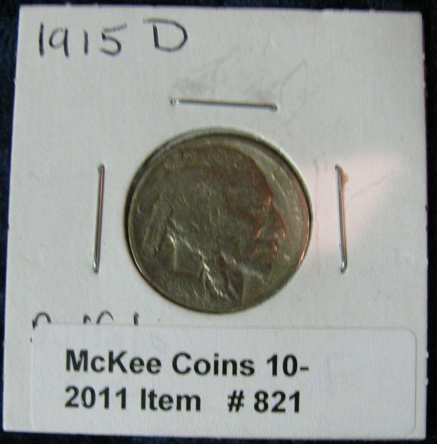821. 1915D Buffalo Nickel. F.