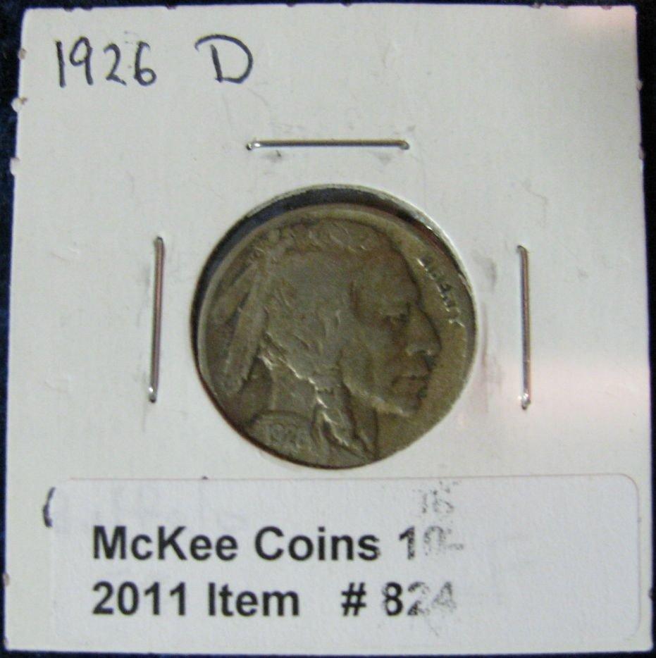 824. 1926D Buffalo Nickel. F.