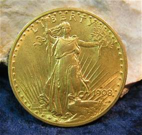 1195. 1908 D $20 St. Gaudens Double Eagle Gold. AU 55