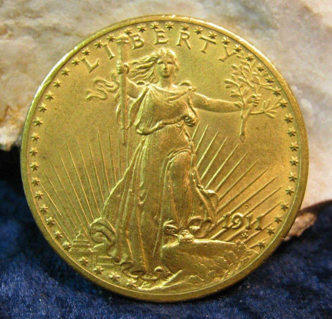 1196. 1911 D $20 St. Gaudens Double Eagle Gold. AU 55