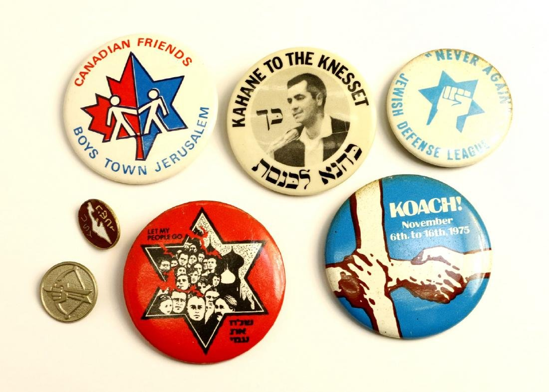 A GROUP OF SEVEN JEWISH ACTIVIST BUTTONS. Including a