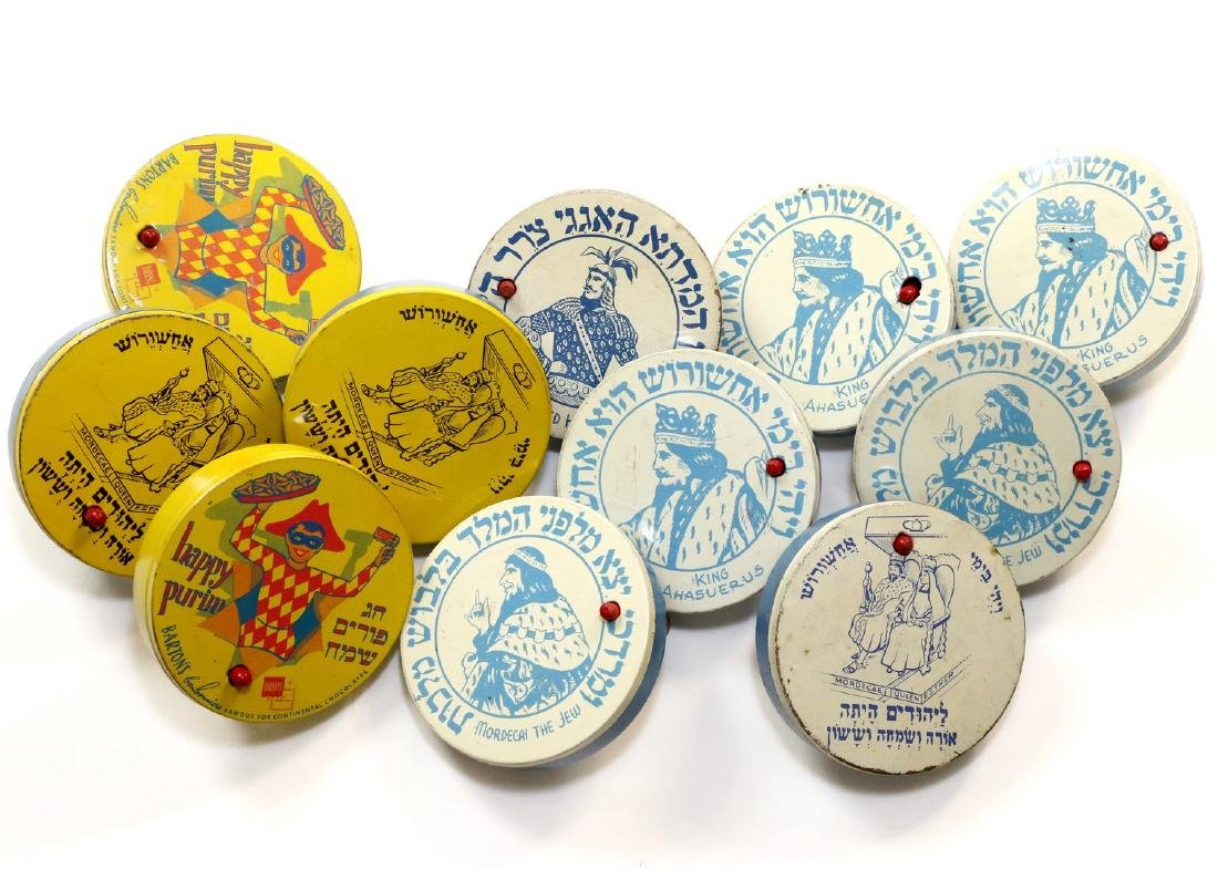 A GROUP OF ELEVEN PURIM GRAGGERS. American, mid 20th