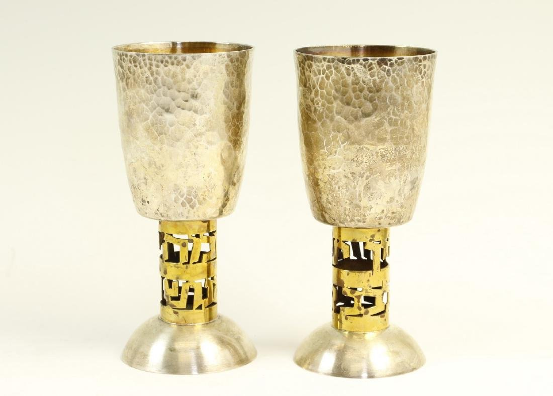 A PAIR OF STERLING SILVER KIDDUSH GOBLETS BY BIER.