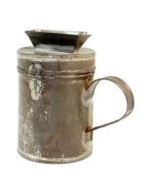 A TIN CHARITY CONTAINER. American or Hungarian, c.