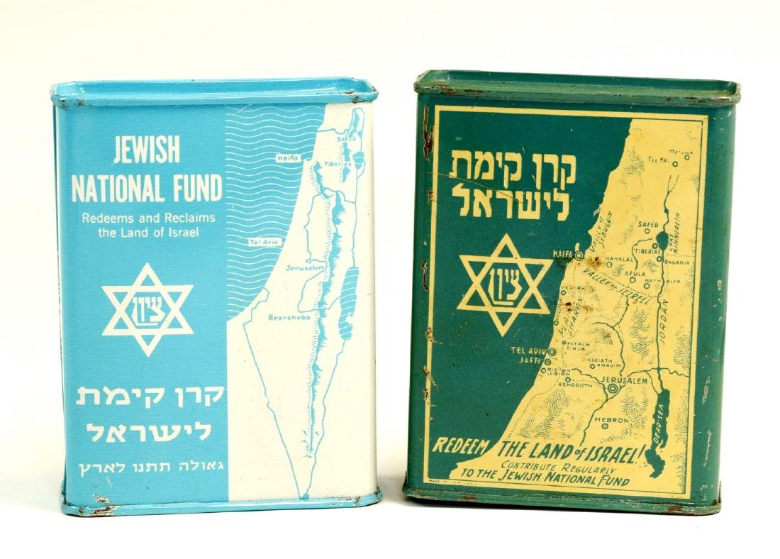TWO TIN JNF CHARITY CONTAINERS. United States, c. 1930