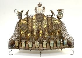 A SILVER BAAL SHEM TOV STYLE MENORAH. Modern. Crafted