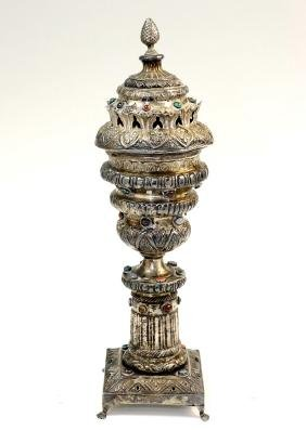 A LARGE SILVER SPICE TOWER. Israel, modern. Trying to