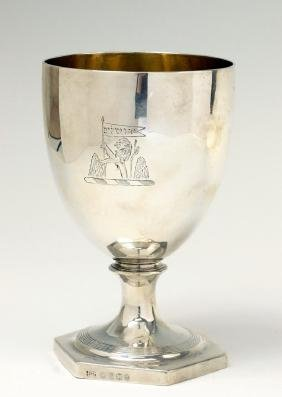 A LARGE STERLING SILVER GOBLET. London, Early 19th