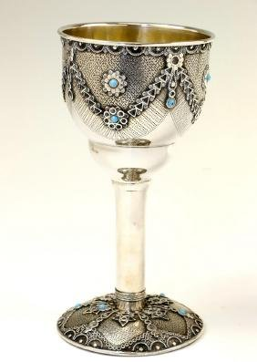 A LARGE STERLING SILVER KIDDUSH CUP BY I.M. Fain.