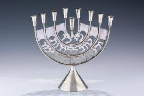 A STERLING SILVER CHANUKAH MENORAH. Israel, c. 1980. On