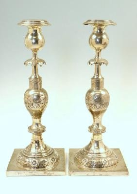 A PAIR OF SILVERPLATED CANDLESTICKS. Poland, 19th