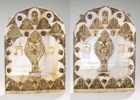 TWO SILVER TORAH SHIELDS BY HERSHEL PIKKAR. Crown
