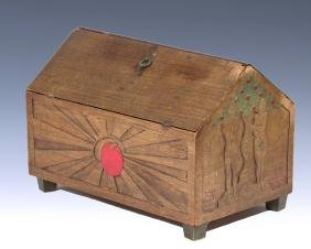 A LARGE WOODEN FRUIT BOX. American, c. 1920. Hand