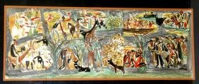 A LARGE PAINTING BY MARCEL JANCO. Israel, c. 1970.