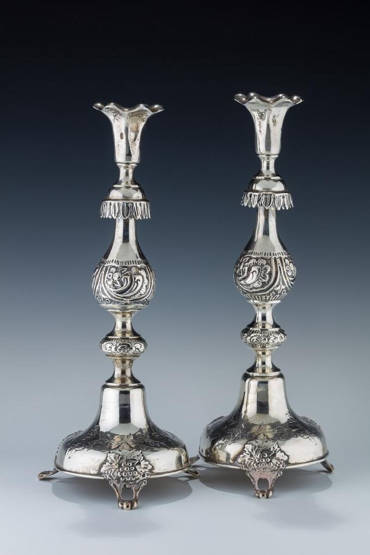 A PAIR OF LARGE SILVER SABBATH CANDLESTICKS BY SHMUEL