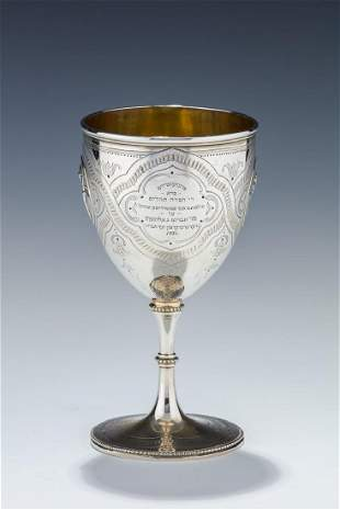 A LARGE STERLING SILVER GOBLET. London, 19th century.