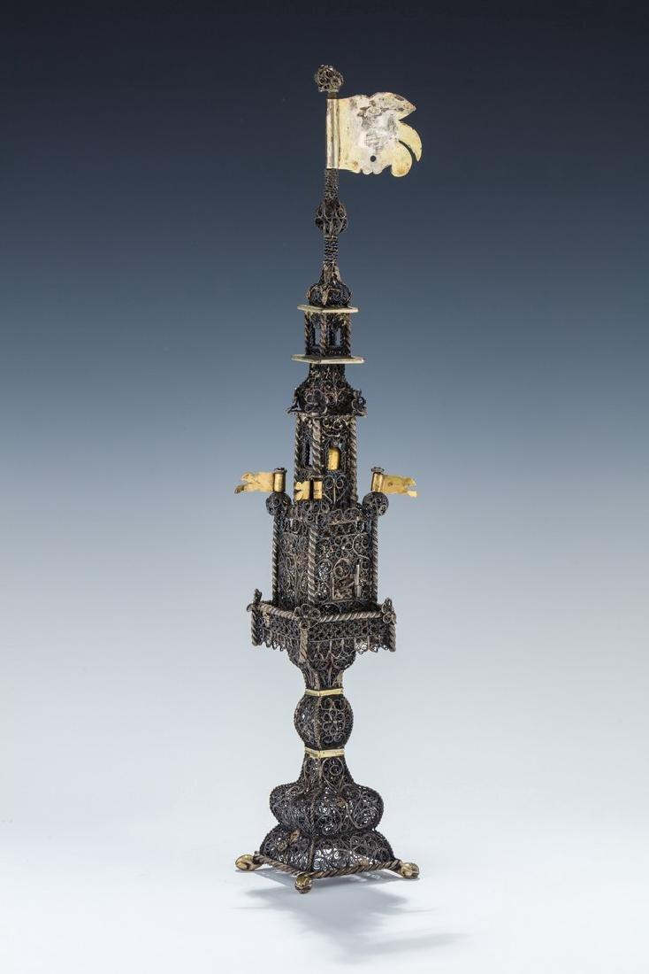 A MASSIVE SILVER SPICE TOWER. Probably Lemberg (Lvov),