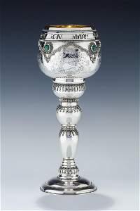 A MONUMENTAL STERLING SILVER KIDDUSH CUP BY YAKOV