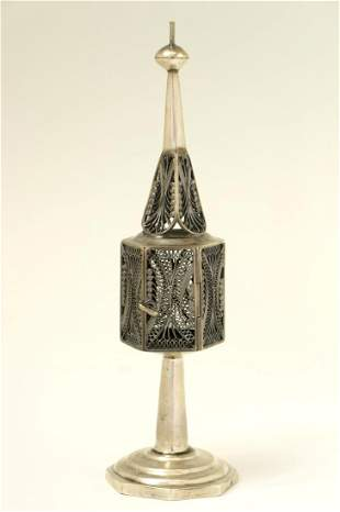 A SILVER SPICE CONTAINER Poland c 1850 On octagonal