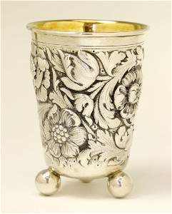 A LARGE SILVER KIDDUSH CUP BY WOLF HECKER. Portugal, c.