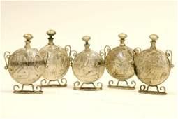 A GROUP OF FIVE BEZALEL PERFUME BOTTLES. Jerusalem,