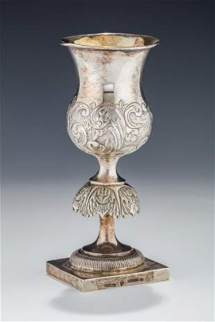 A LARGE SILVER KIDDUSH GOBLET BY WILLIAM LUTHER