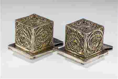 A LARGE AND MAGNIFICENT PAIR OF SILVER TEFILLIN CASES.