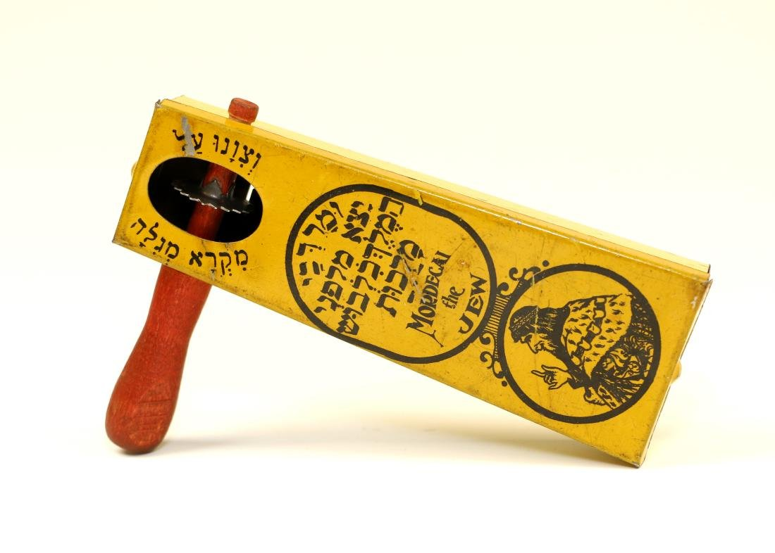 17. AN EARLY TIN GRAGGER FOR PURIM. Probably New York,
