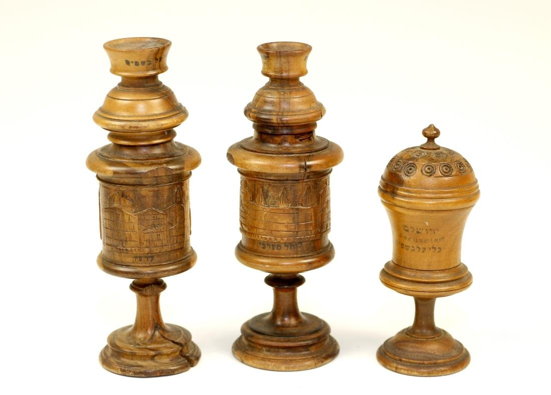 36. THREE OLIVE WOOD SPICE CONTAINERS. Palestine, c.