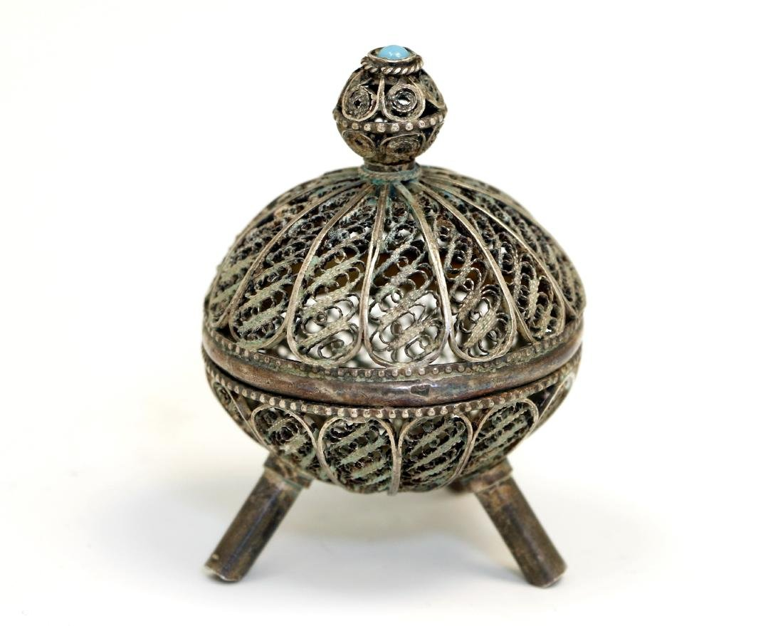 61. A SILVER SPICE CONTAINER. Jerusalem, 20th century.